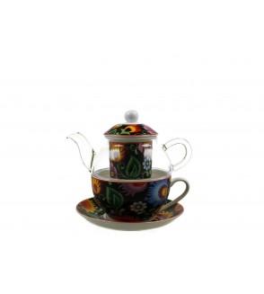 Set ceainic cu ceasca si infuzor, sticla si portelan, 0,33 l, Etnic