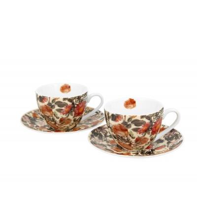 Set 2 cesti espresso cu farfurii, portelan, 90 ml, Floral Dream