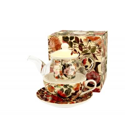 Set ceainic sticla cu ceasca si infuzor portelan, 0,33 l, Floral Dream