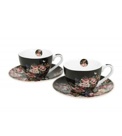Set 2 cesti espresso cu farfurii, portelan, 90 ml, Vintage Flowers