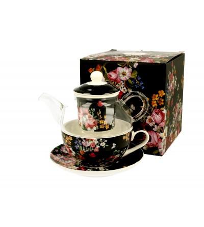 Set ceainic sticla cu ceasca si infuzor portelan, 0,33 l, Vintage Flowers
