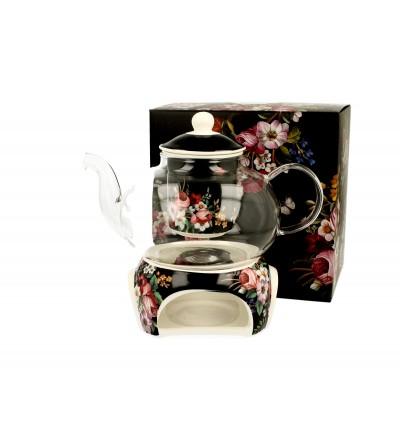 Ceainic sticla cu infuzor si suport portelan, 1 l, Vintage Flowers