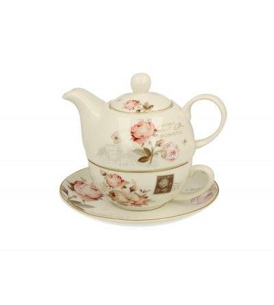 Set ceainic cu ceasca, portelan, 0.42 l, Secession