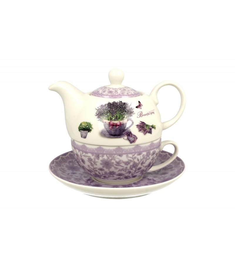Set ceainic cu ceasca, portelan, 0.42 l, Passion