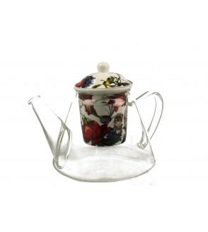 Ceainic sticla cu infuzor portelan, 1.2 l, White Roses