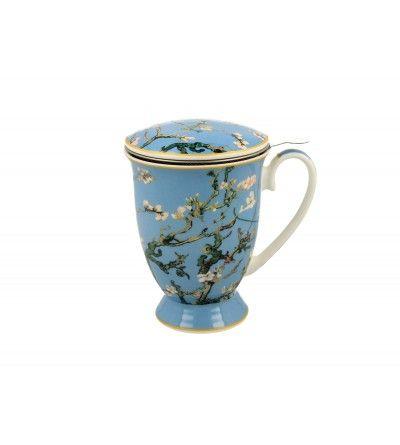 Cana portelan cu capac si infuzor, 0.3 l, Van Gogh - Almond Blossom