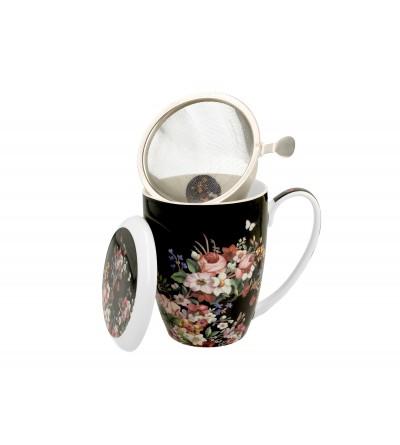 Cana portelan cu infuzor, 0.39 l, Vintage Flowers Black